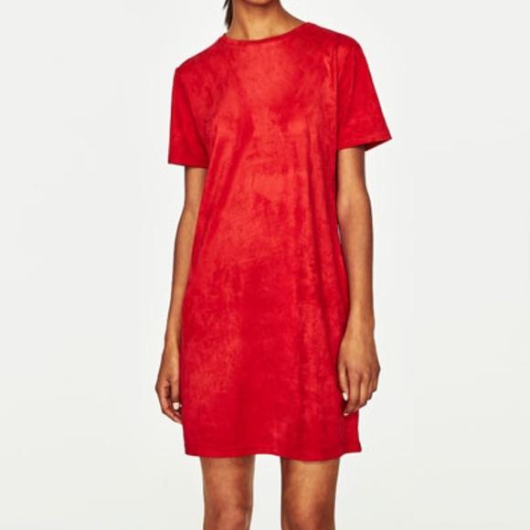 Zara Dresses | Suede Effect Red Dress
